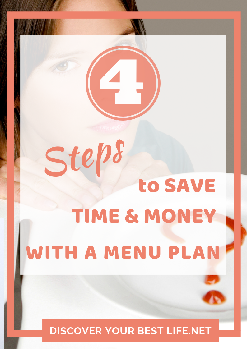 4 steps to save time and money at the grocery store menu planner cover page
