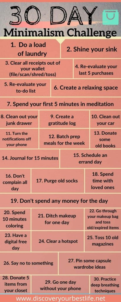 My version of the 30-day minimalism challenge infographic.